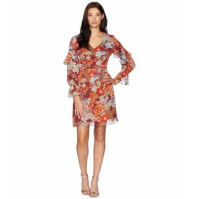 Adrianna Papell アドリアナパぺル ドレス 一般 Floral Print Metallic Stripe Chiffon Ruffle Sleeve Dress