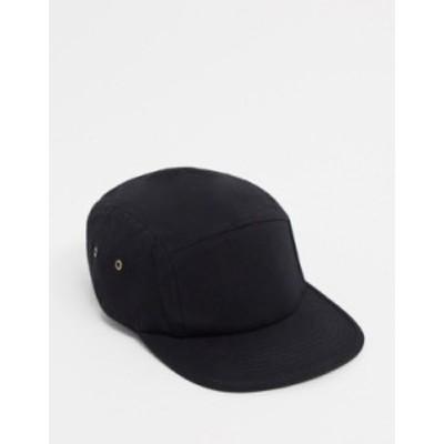 エイソス メンズ 帽子 アクセサリー ASOS DESIGN 5 panel cap in black canvas Black