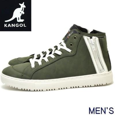 KANGOL カンゴール メンズ シューズ KGSF-10077 スニーカー ジッパー ミドル ミッド カット グリーン 靴 ロゴ 秋 冬 男 紳士 男性