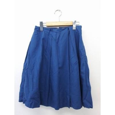 【中古】ボールジー BALLSEY トゥモローランド スカート ボトムス フレア ジップ 膝丈 コットン 綿 32 ブルー 青