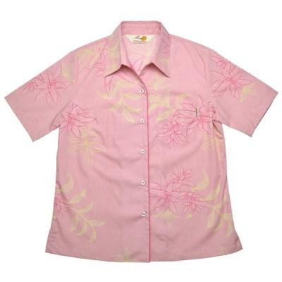 かりゆしウェア(沖縄アロハシャツ)レディース MANGO ラインウコン スキッパー  ピンク
