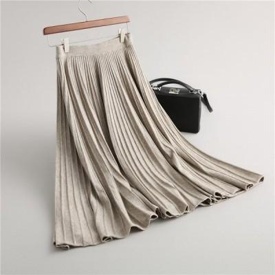 スカート 冬 ロング ロングスカート フレア プリーツ マキシ丈 ミモレ丈 体型カバー 大きいサイズ 無地 ボトムス ウエストゴム