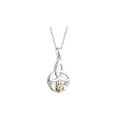 Trinity Knot & Claddagh ネックレス シルバー 10K ゴールド & ダイヤモンド Irish メイド(海外取寄せ品)