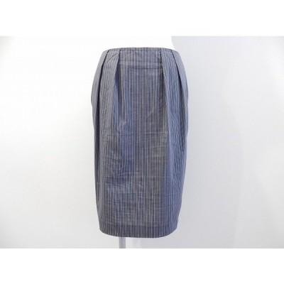 #anc レコパン LESCOPAINS スカート 42 紺 タック入り ストライプ レディース [531873]