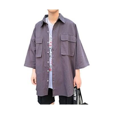 メンズ オーバーサイズシャツ 半袖 五分袖 シャツ ビッグシルエット ドロップショルダー ロング丈 ビッグポケット WA002