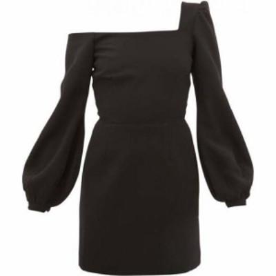 ラシル Racil レディース パーティードレス ワンショルダー ワンピース・ドレス Debbie one-shoulder balloon-sleeve crepe dress Black