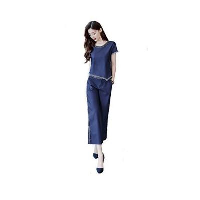 CARLIE KLOSS パーティードレス パンツスーツ ワイドパンツ ワンピース デニム 夏 上下 2点セット レディース ファッション