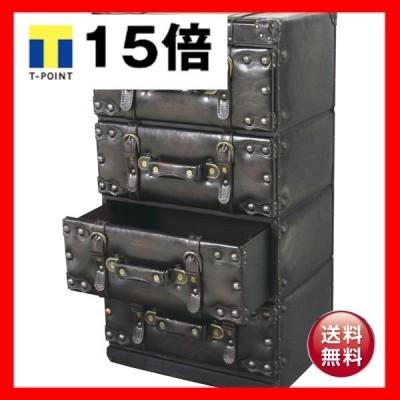 アンティーク調チェスト/タンス 〔Traver Furniture〕 4段 木製(杉)/合成皮革 IW-874