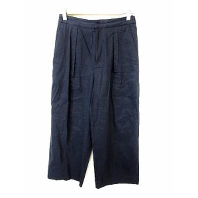 【中古】バンヤードストーム BARNYARDSTORM パンツ ワイド 麻 リネン 0 紺 ネイビー /AKK13 レディース