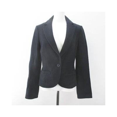 【中古】ヴォイスメール VOICEMAIL 長袖 シングルジャケット 38 ネイビー系 紺 刺繍 ステッチ ボタン毛 ウール 裏地 日本製 レディース 【ベクトル 古着】