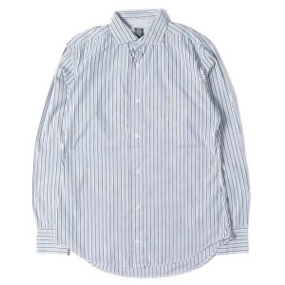 eleventy (イレブンティ) マルチストライプストレッチコットンボタンシャツ イタリア製 ブルー 15(38) 【メンズ】【中古】【K2327】