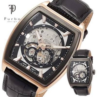 【送料無料】【Furbo design】Furbo フルボ フルボデザイン VIGOROUS 腕時計 自動巻き メンズ レザーバンド ブラック グレー ゴールド F