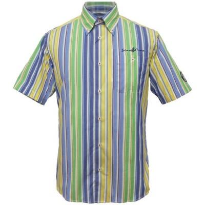 40%OFF 2020春夏 シナコバ マルチカラーストライプ半袖ボタンダウンシャツ(グリーン系)(M、L、LL) SH*0120124530940