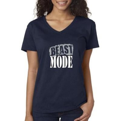 レディース 衣類 トップス Trendy USA 1381 - Women's V-Neck T-Shirt Beast Mode Gym Workout Gains Flex XS Navy Tシャツ