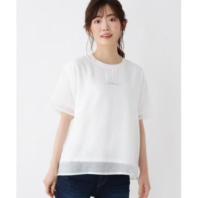 SHOO・LA・RUE/Cutie Blonde(シューラルー) 【M-L】ロゴ刺しゅうシアーTシャツ