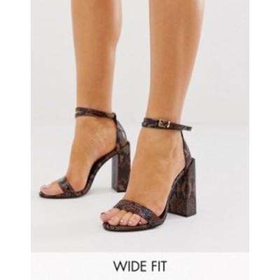 エイソス レディース ヒール シューズ ASOS DESIGN Wide Fit Highlight barely there heeled sandals in brown snake Brown snake