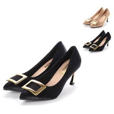 パンプス ピンヒール ポインテッドトゥ ハイヒール バックル付き 光沢 シューズ 靴 レディース ブラック ベージュ SALE セール