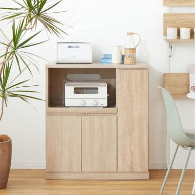 [幅83] キッチンカウンター ミドルタイプ スライド収納付き コンセント付き 目隠し収納付き