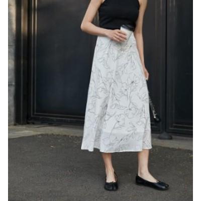 韓国 ファッション レディース スカート ロング フレア 花柄 シフォン ハイウエスト 透け感 ミモレ丈 きれいめ上品 通勤 大人可愛い
