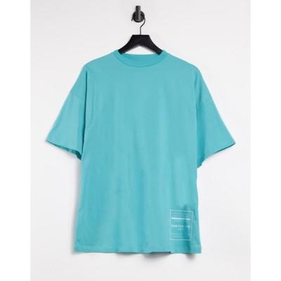 エイソス ASOS 4505 レディース Tシャツ トップス Logo Oversized T-Shirt With Print グリーン