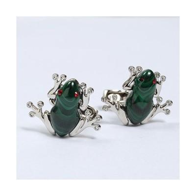 カフリンクス・カフスボタン・サイモンカーター/イギリス製 /Darwin Frog/カエル型/マラカイト/孔雀石/スワロフスキー クリスタル/グリーン オジエ ozie