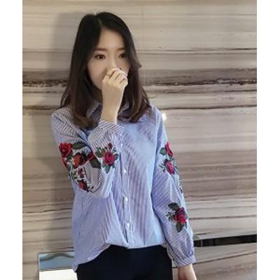 ストライプ柄 ブラウス 花柄刺繍 ゆったりブラウス 白シャツ パフスリーブ 長袖 トップス レディース 韓国 オルチャン ファッション 春服