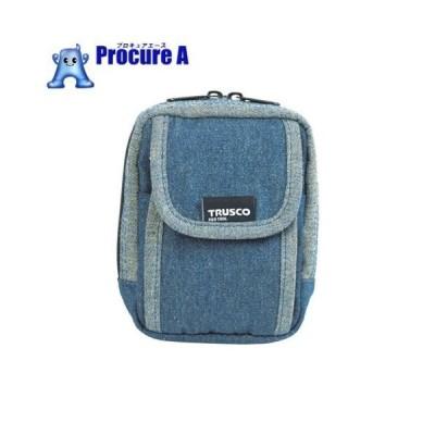 TRUSCO デニム携帯電話用ケース 2ポケット ブルー TDC-H101 ▼768-9900 トラスコ中山(株)