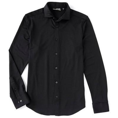 ムラノ メンズ シャツ トップス Slim-Fit Solid Performance Stretch Black RepreveR Long-Sleeve Woven Recycled Materials Shirt