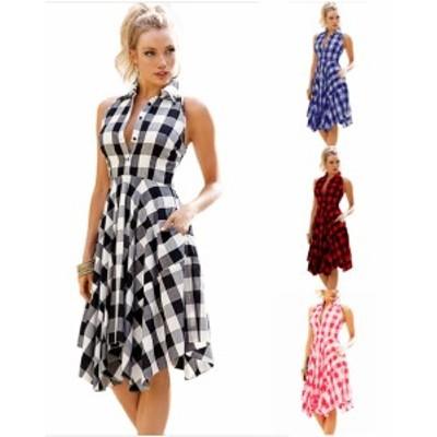 【 S ~ XL 】 大きいサイズ レディース シャツ タイプ ワンピース スカート  チェック柄 夏 カジュアル ノースリーブ ドレス 70884