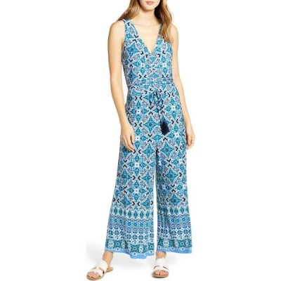 トミー バハマ TOMMY BAHAMA レディース オールインワン ジャンプスーツ ノースリーブ ワンピース・ドレス Nassau Tile Print Sleeveless Jumpsuit Island Navy