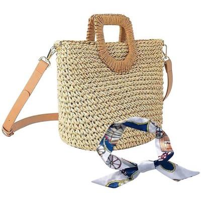 カゴバッグ レディース 手編みバッグ ショルダーバッグ ハンドバッグ 草編み 2way 肩掛け 斜めがけ スカーフ付き 手作り感 ハンドメイド シンプ