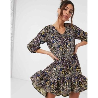 ワイ エー エス Y.A.S レディース ワンピース ミニ丈 ワンピース・ドレス mini smock dress with peplum skirt in ditsy floral