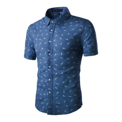 uxcell Allegra K メンズ ボタンダウン シャツ 半袖 綿 ファッション ビジネス カジュアル 春 夏 S /36 ブルー