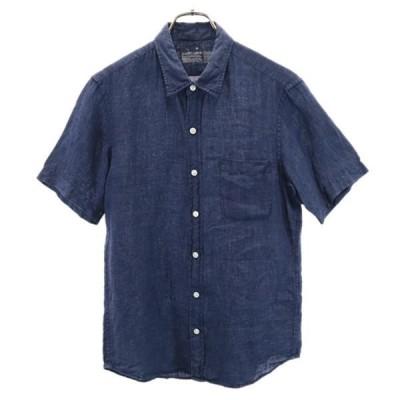 無印良品 リネン 半袖 シャツ M 紺 良品計画 メンズ 古着 210604 メール便可