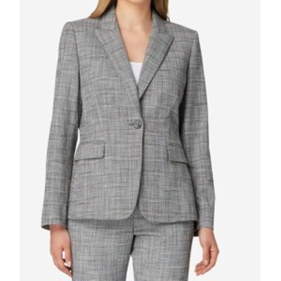 Tahari タハリ ファッション 衣類 Tahari By ASL Womens Jacket Gray Size 16 Plaid-Print Notched-Lapel
