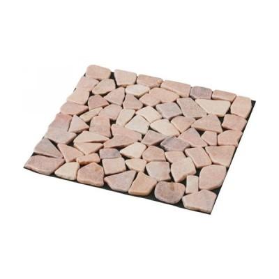 アイクール 雑草が生えないおしゃれな天然石マット6枚組 ピンク (68332)