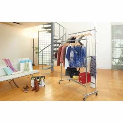 家具 収納 衣類収納 パイプハンガー プロ仕様 伸縮頑丈ハンガーラック ダブルタイプ 幅73~92cm 592911