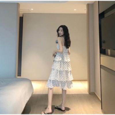 素敵な商品 韓国ファッション ドット 中・長セクション 袖なし ケーキスカート 気質 おしゃれな