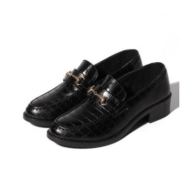 【シュークロ】 ビット付オックスフォードローファー レディース ブラッククロコ S Shoes in Closet