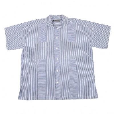 イッセイミヤケ メンISSEY MIYAKE MEN ストライプ切替コットンシャツ 白青3 【メンズ】