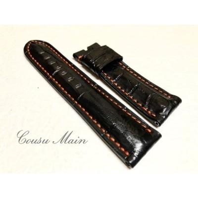 CousuMain 24mm-22mm   クロコダイル クロコベルト 両面 尾錠用 手縫い クロコ時計ベルト(PANERAI パネライ 44mmケース)向 R327