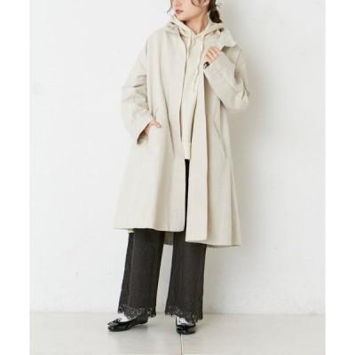 アウター 綿麻スタンド襟コート