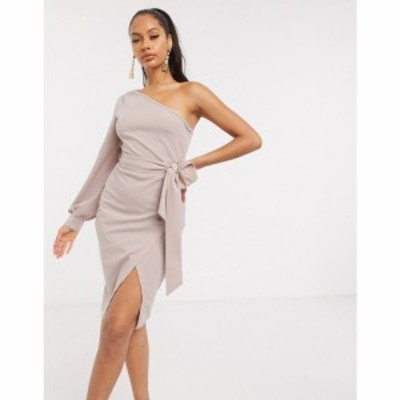 アックスパリス AX Paris レディース ワンピース ミニ丈 ワンピース・ドレス one sleeve mini dress in mink モーヴピンク
