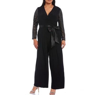 ジェシカハワード レディース ワンピース トップス Plus Size V-Neck Embellished Long Sleeve Tie Waist Jumpsuit Black Silver