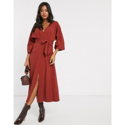 エイソス ASOS DESIGN レディース ワンピース ミドル丈 ワンピース・ドレス textured midi dress with pockets ラスティック