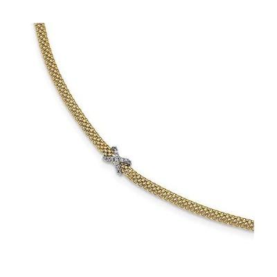"""海外限定 Solid 14k Yellow and White Gold Two Tone CZ Cubic Zirconia X Mesh Link Bracelet - with Secure Lobster Lock Clasp 7.5"""" (Width ="""