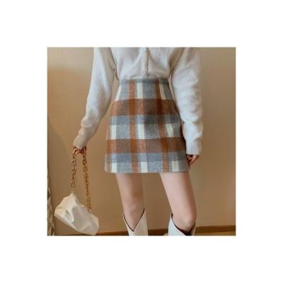 【送料無料】手厚い スカート 秋冬 何でも似合う ハイウエスト 羊毛の ミニスカート   364331_A64143-5016807