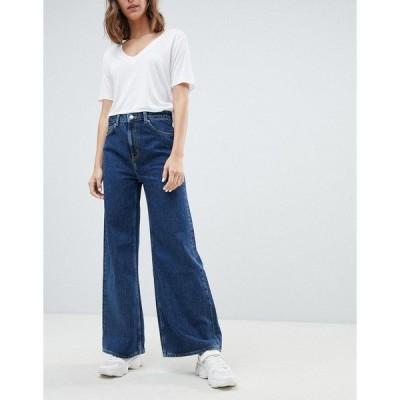 ウィークデイ レディース デニム ボトムス Weekday Ace organic cotton wide leg jeans in blue Ohio blue