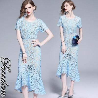 大きいサイズ ドレス 結婚式 お呼ばれ 発表会 謝恩会 大人上品感!ケミカル花柄総レースドレスワンピース M L 2L 3L サイズ セール