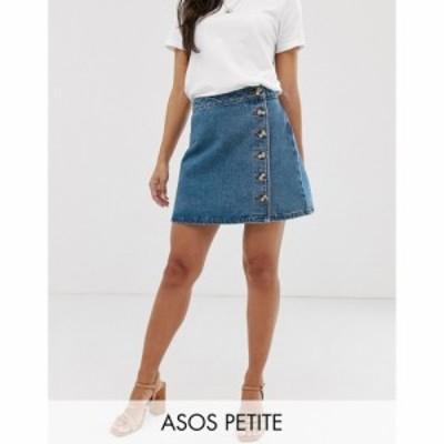 エイソス ASOS Petite レディース スカート デニム ラップスカート ASOS DESIGN Petite denim wrap skirt with side buttons in blue ブ